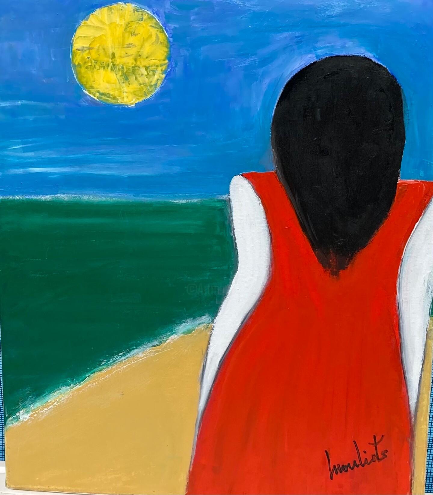 Mariam Mouliets - La fille en rouge devant l'océan