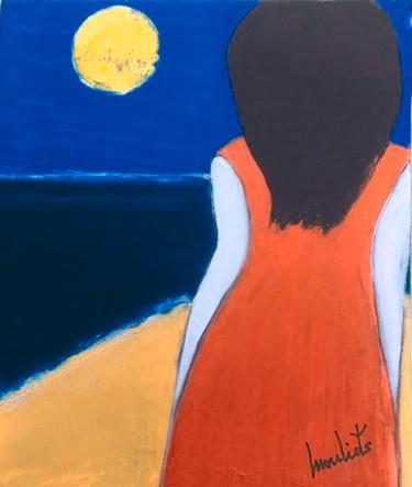 La fille en rouge devant l'océan
