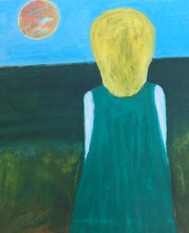 La fille en vert regarde l'Océan